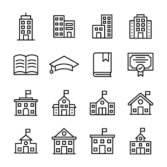 Pack of education line icon