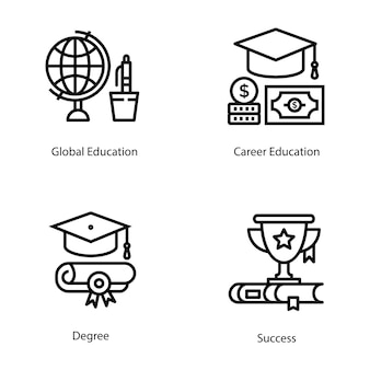 Pack of education line vectors
