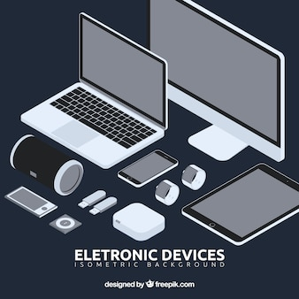 Pack of electronic elements in perspective