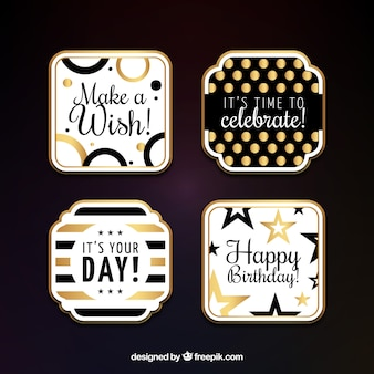 Pack elegant birthday stickers