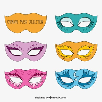 Pack of elegant hand drawn carnival masks