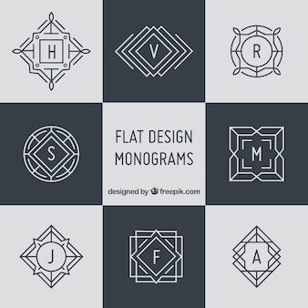 Pack of elegant monograms in linear style