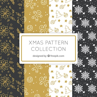 Pack of elegant patterns with christmas drawings