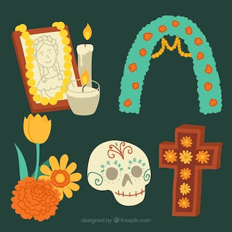 Pack of elements for day of the dead