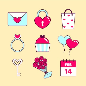 Pack of elements for valentine day in flat design style