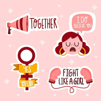 Pack of empowering feminist stickers