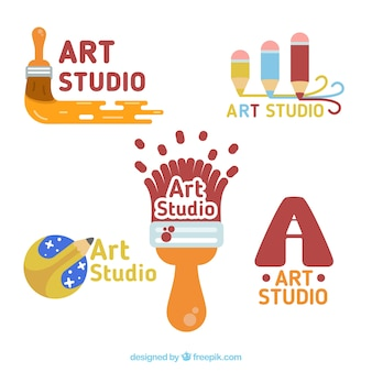 Pack of enjoyable art studio logos