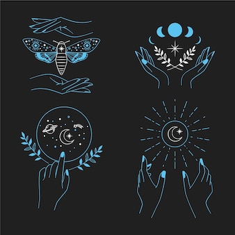 Confezione di elementi esoterici