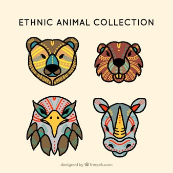 Pack of ethnic colored animal faces