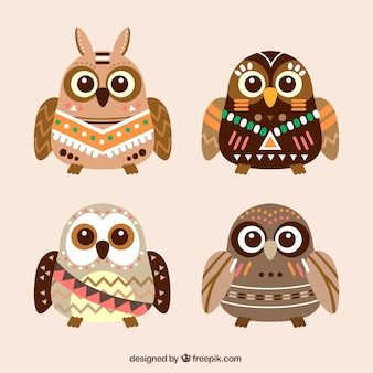 Pack of ethnic owls