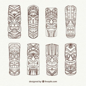 Pack of exotic tiki masks