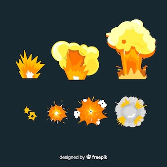 Pack of explosion effects cartoon style