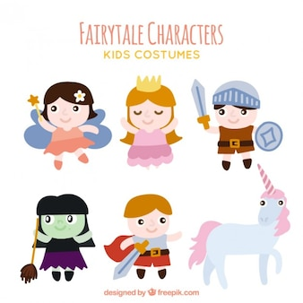 Pack of fairytale characters with an unicorn