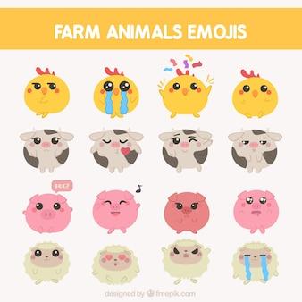 Pack of farm animals emojis