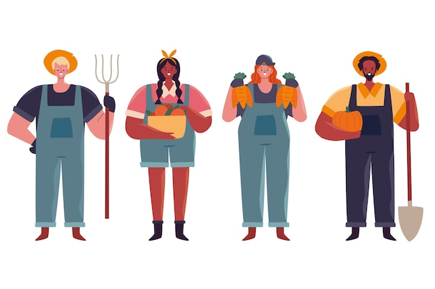 Pack of farmers illustration