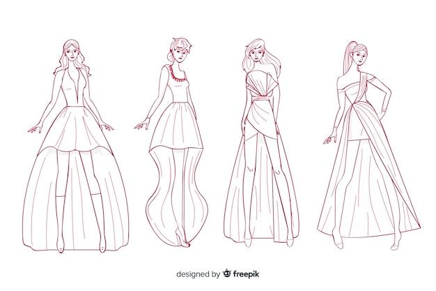 Pack of fashion illustrations hand drawn design