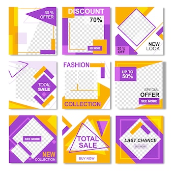 Pack for fashion yellow pink instagram post banner template