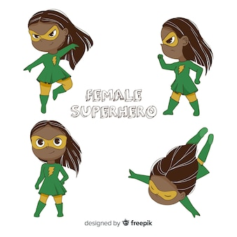 Pack of female superhero characters in cartoon style