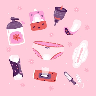 Pack of feminine hygiene products illustrated