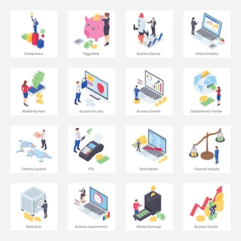 Pack of finance isometric icons