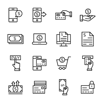 Pack of finance line icon