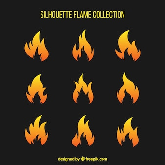 Pack of fire silhouettes