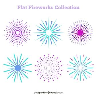 Pack of fireworks in flat design