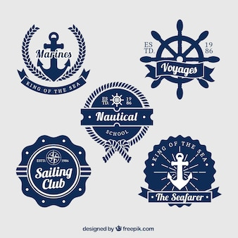 Pack of five blue and white nautical badges