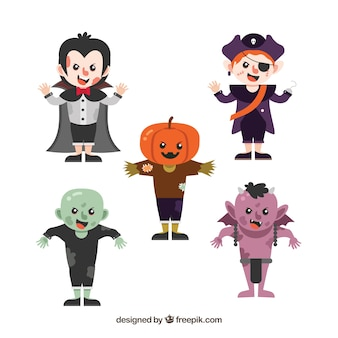 Pack of five children with halloween costumes