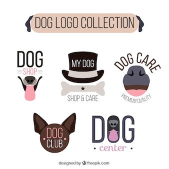 Pack of five dog logos in flat design
