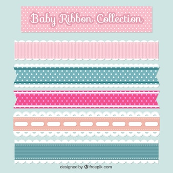 Pack of five flat baby ribbons