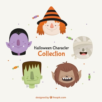 Pack of five lovely halloween characters