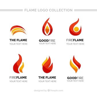 Pack of flame logos with different colors