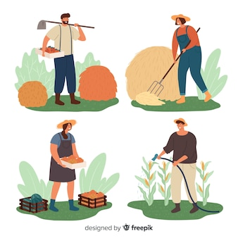 Pack of flat agricultural workers