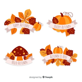 Pack of flat autumn badges