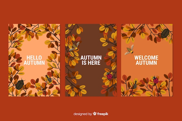 Pack of flat autumn card