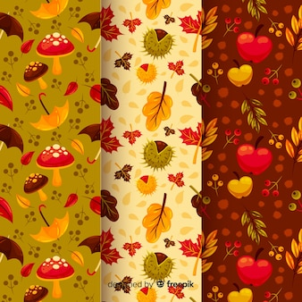 Pack of flat autumn patterns