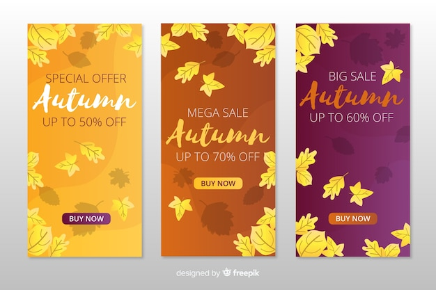 Pack of flat autumn sales banners