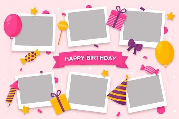 Pack of flat birthday collage frame