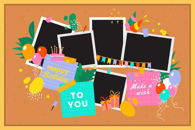 Pack of flat birthday collage frames