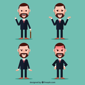 Pack of flat businessman character with facial expressions