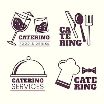 Confezione di modelli di logo per ristorazione piatta