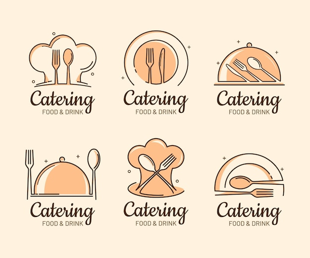 Pack of flat catering logo templates