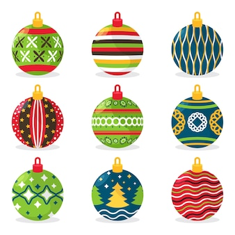 Pack of flat christmas ball ornaments