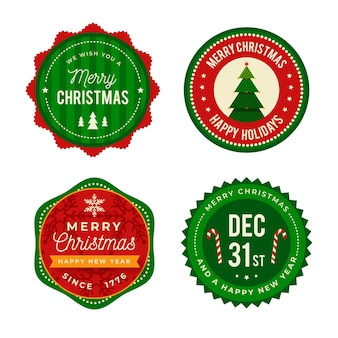 Confezione di etichette natalizie piatte