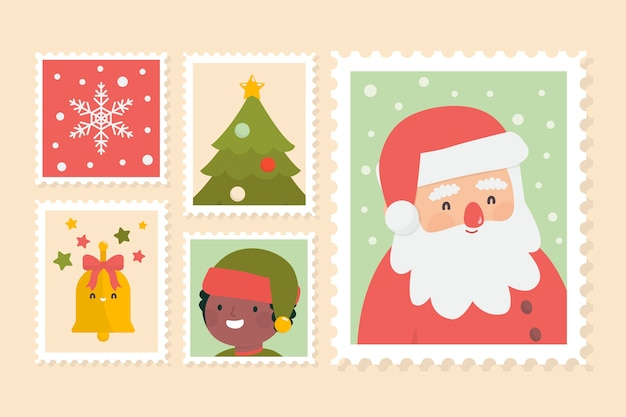 Pack of flat christmas stamps