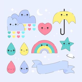 Pack of flat chuva de amor decoration elements