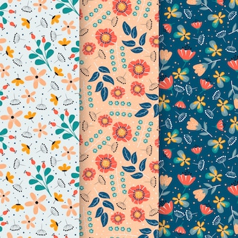 Pack of flat colorful spring patterns