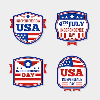 Pack of flat design 4th of july label
