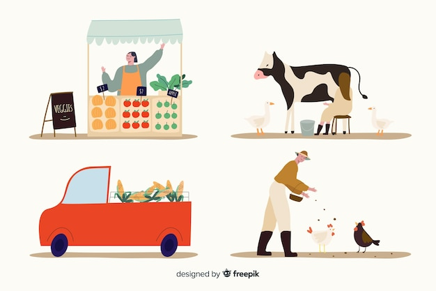 Pack of flat design agricultural workers illustrated
